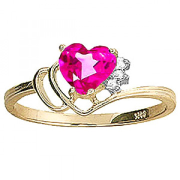 Pink Topaz & Diamond Passion Ring in 9ct Gold