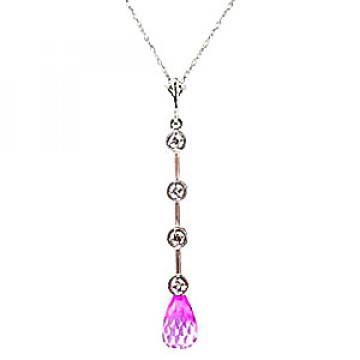 Pink Topaz & Diamond Pendant Necklace in 9ct Rose Gold