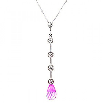 Pink Topaz & Diamond Pendant Necklace in 9ct White Gold