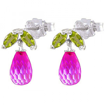 Pink Topaz & Peridot Snowdrop Stud Earrings in 9ct White Gold
