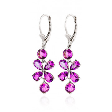 Pink Topaz Blossom Drop Earrings 5.32 ctw in 9ct White Gold