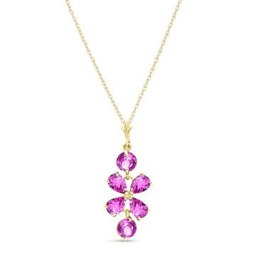 Pink Topaz Blossom Pendant Necklace 3.15 ctw in 9ct Gold