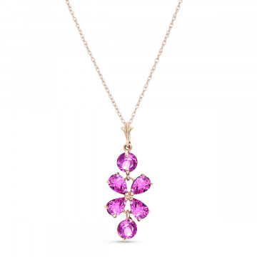 Pink Topaz Blossom Pendant Necklace 3.15 ctw in 9ct Rose Gold