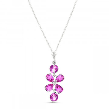 Pink Topaz Blossom Pendant Necklace 3.15 ctw in 9ct White Gold
