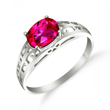 Pink Topaz Catalan Filigree Ring 1.15 ct in Sterling Silver