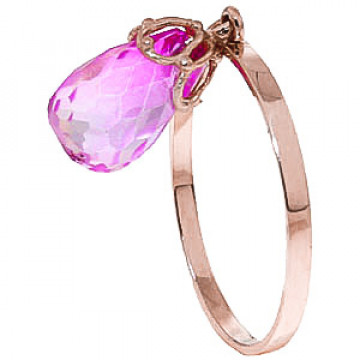 Pink Topaz Crown Ring 3 ct in 9ct Rose Gold