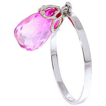 Pink Topaz Crown Ring 3 ct in 9ct White Gold