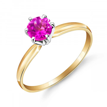 Pink Topaz Crown Solitaire Ring 0.65 ct in 9ct Gold