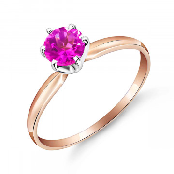 Pink Topaz Crown Solitaire Ring 0.65 ct in 9ct Rose Gold