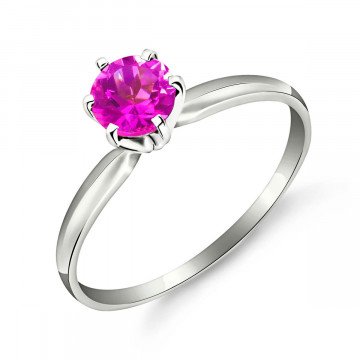 Pink Topaz Crown Solitaire Ring 0.65 ct in 9ct White Gold