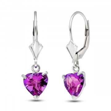 Pink Topaz Drop Earrings 3.25 ctw in 9ct White Gold