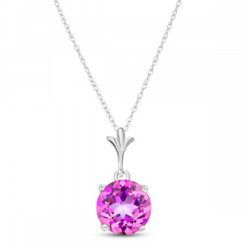 Pink Topaz Drop Pendant Necklace 1.15 ct in 9ct White Gold