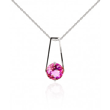 Pink Topaz Embrace Pendant Necklace 1.45 ct in 9ct White Gold