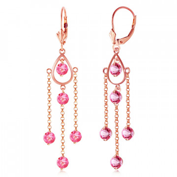 Pink Topaz Faro Drop Earrings 3 ctw in 9ct Rose Gold