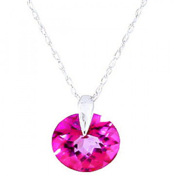 Pink Topaz Gem Drop Pendant Necklace 1 ct in 9ct White Gold