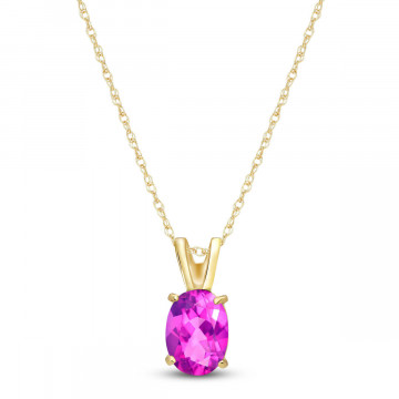 Pink Topaz Oval Pendant Necklace 0.85 ct in 9ct Gold