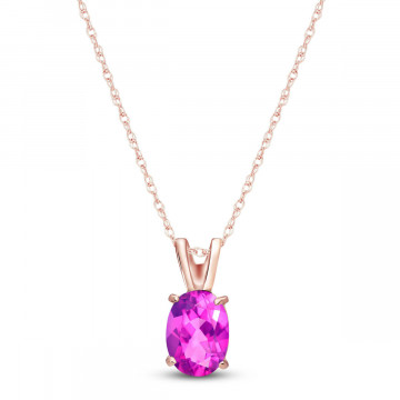 Pink Topaz Oval Pendant Necklace 0.85 ct in 9ct Rose Gold