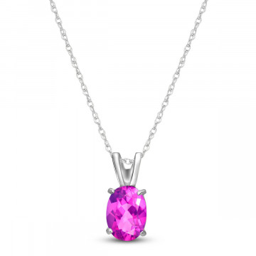 Pink Topaz Oval Pendant Necklace 0.85 ct in 9ct White Gold