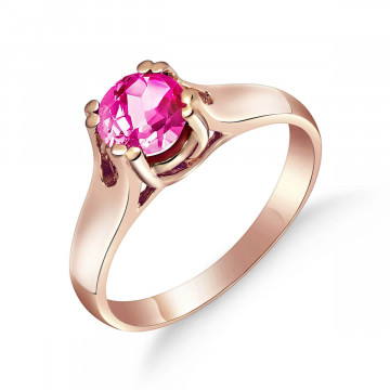 Pink Topaz Solitaire Ring 1.1 ct in 9ct Rose Gold