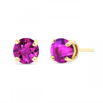 Pink Topaz Stud Earrings 1.3 ctw in 9ct Gold