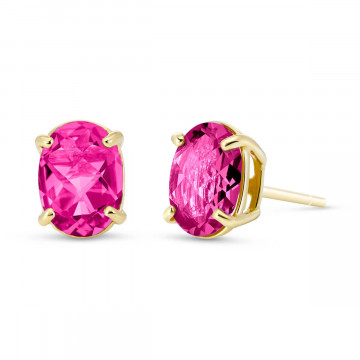 Pink Topaz Stud Earrings 1.8 ctw in 9ct Gold