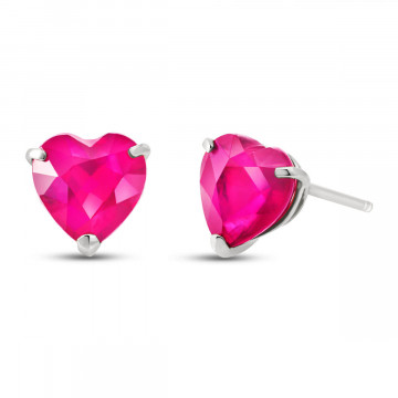 Pink Topaz Stud Earrings 3.25 ctw in 9ct White Gold