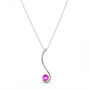 Pink Topaz Swish Pendant Necklace 0.55 ct in 9ct White Gold