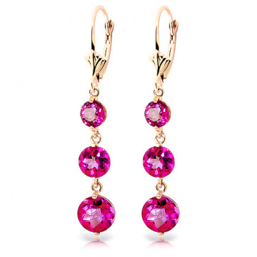Pink Topaz Trinity Drop Earrings 7.2 ctw in 9ct Rose Gold