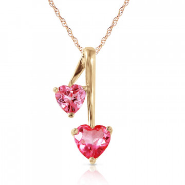Pink Topaz Twin Pendant Necklace 1.4 ctw in 9ct Gold