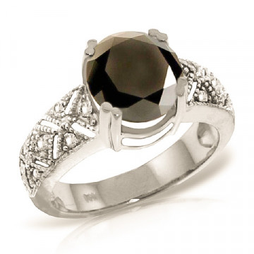 Round Cut Black Diamond Ring 3.7 ctw in 9ct White Gold