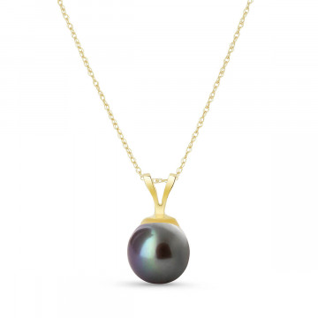 Round Cut Black Pearl Pendant Necklace 2 ct in 9ct Gold