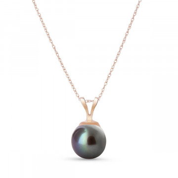 Round Cut Black Pearl Pendant Necklace 2 ct in 9ct Rose Gold