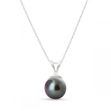 Round Cut Black Pearl Pendant Necklace 2 ct in 9ct White Gold