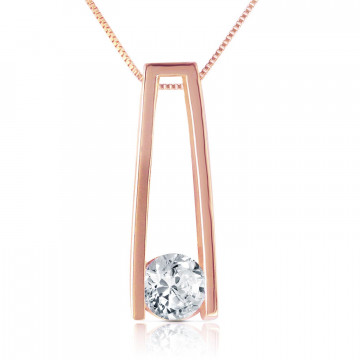 Round Cut Diamond Pendant Necklace 0.25 ct in 9ct Rose Gold