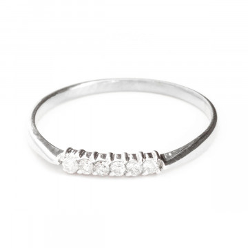 Round Cut Diamond Ring 0.1 ctw in Sterling Silver