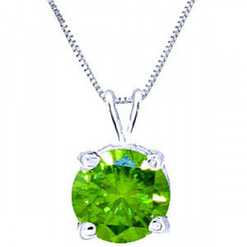 Round Cut Green Diamond Pendant Necklace 0.5 ct in 9ct White Gold