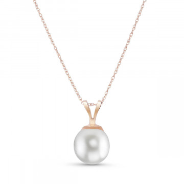 Round Cut Pearl Pendant Necklace 2 ct in 9ct Rose Gold