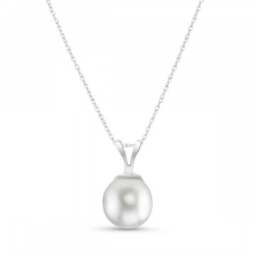 Round Cut Pearl Pendant Necklace 2 ct in 9ct White Gold