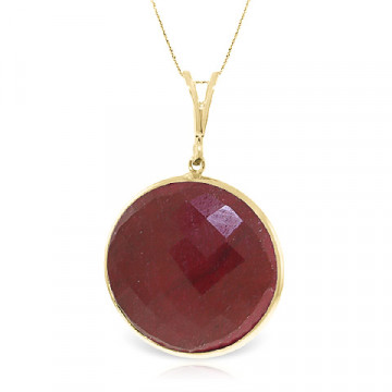 Round Cut Ruby Pendant Necklace 23 ct in 9ct Gold
