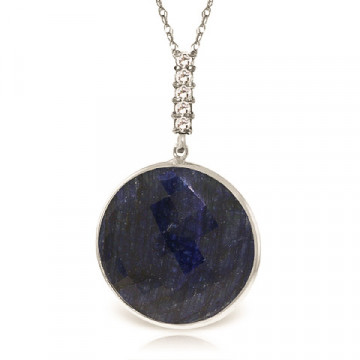 Round Cut Sapphire Pendant Necklace 23.08 ctw in 9ct White Gold