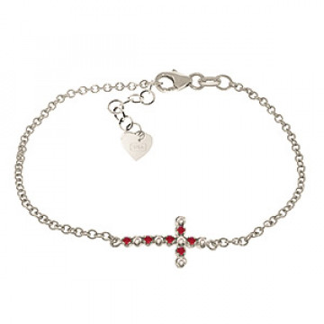 Ruby Adjustable Cross Bracelet 0.24 ctw in 9ct White Gold