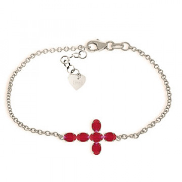 Ruby Adjustable Cross Bracelet 1.7 ctw in 9ct White Gold
