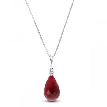 Ruby & Diamond Beret Pendant Necklace in 9ct White Gold