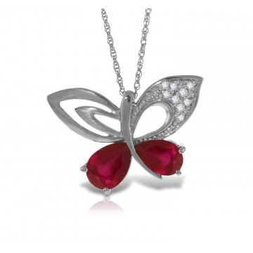 Ruby & Diamond Butterfly Pendant Necklace in 9ct White Gold