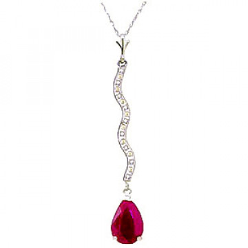 Ruby & Diamond Cannes Pendant Necklace in 9ct White Gold