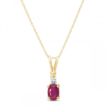 Ruby & Diamond Cap Oval Pendant Necklace in 9ct Gold