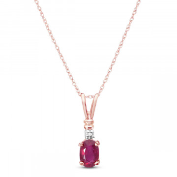 Ruby & Diamond Cap Oval Pendant Necklace in 9ct Rose Gold