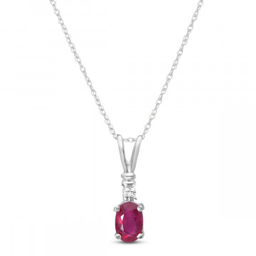 Ruby & Diamond Cap Oval Pendant Necklace in 9ct White Gold