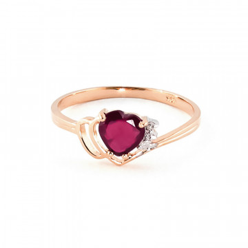 Ruby & Diamond Devotion Ring in 9ct Rose Gold