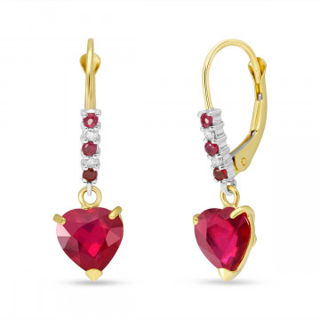 Ruby & Diamond Drop Earrings in 9ct Gold